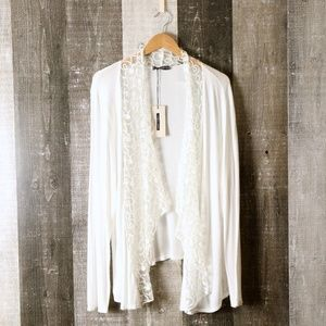 NWT Lungo L'Arno White Open Front Sheer Waterfall Cardigan Sweater